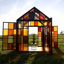 William Lamson's fantastic Solarium made of Steel, glass, sugar, and citrus trees! Each of the 162 panels is made of sugar cooked to different temperatures and then sealed between two panes of window glass.