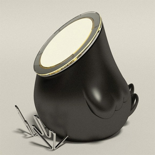 Blackbody Best Before customizable USB light designed by Thierry Gaugain to be customized like an art toy. These chick like lamps come in black, white, and grey.