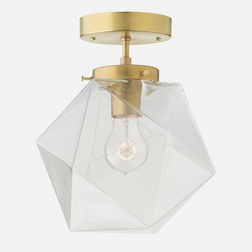 """Schoolhouse Electric Fuller Light - Faceted light in clear and white glass and brass and black fixture options. 10"""" Shade Diameter."""