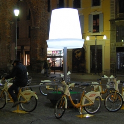 """Ride it to light it"" by are a series of bike lamps and a carouselle by Ignacio Ojanguren Álvarez,