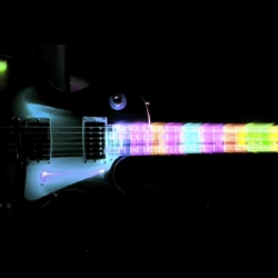 The Light Guitar Rock video is a video that uses the Light Paint technique. Every frame is a single image that has been colorized with Photoshop.