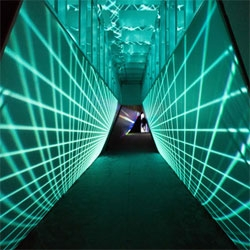 This glowing tunnel is a digital light show leads into Ben Jones' video installation at the Avant/Garde Diaries Transmission LA: A/V Club at MoCA.
