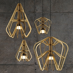 Exo Lighting Series - Flat geometric fins frame an integrated LED light source. Designed by Matthew Harding and Rowan Turnham in collaboration with Rakumba Lighting.