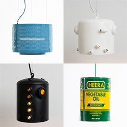 Willem Heeffer lights are upcycled boiler lamps, washing machine drums, cans, and more...