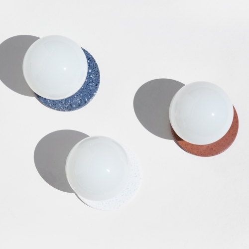New Offset Lunar Sconces by YIELD are made from a mosaic solid surface materials and can be mounted in any rotation.