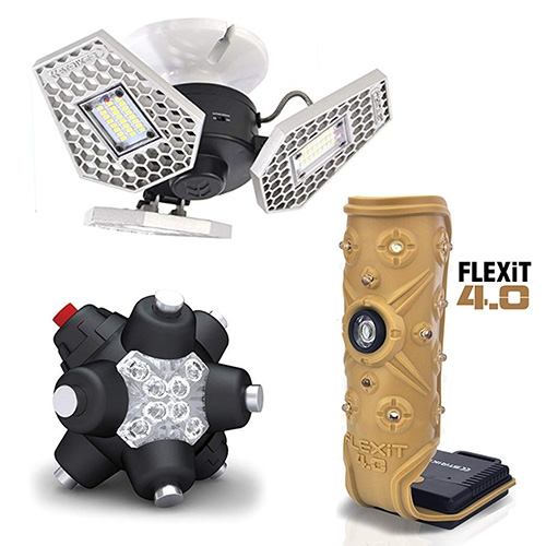 Striker Concepts LED Lights - fascinating designs - from LED mines with 11 neodymium rare Earth magnets to stick at any angle, to triple LED panels that screw into a light bulb socket, to flexible/magnet LED panels and more.