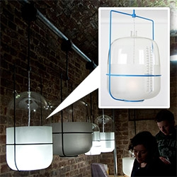 Parlour Lighting from Donna Bates! Reminiscent of lab glassware, but actually inspired by the milking parlor!