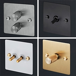 Buster & Punch Electricity Light Switches - lovely brass and steel switches in various brushed, smoked, matte metals, black, and white. Tempting!