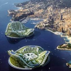 The Lilypad, by Vincent Callebaut, is a concept for a completely self-sufficient floating city intended to provide shelter for future climate change refugees.
