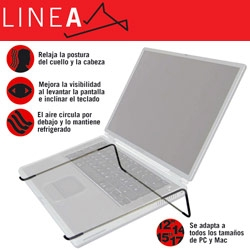 Such a simple design.... Linea is a laptop stand/cooler by Gabriel Kornreich... handmade bent piece of metal (with rubber where it needs it) for 18 euro