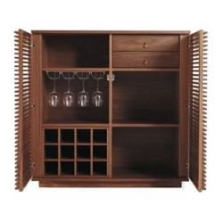 The Line Bar by Nathan Yong has two drawers with leather pulls, three open cubbies, a storage rack for stemware and a storage rack for 12 bottles.