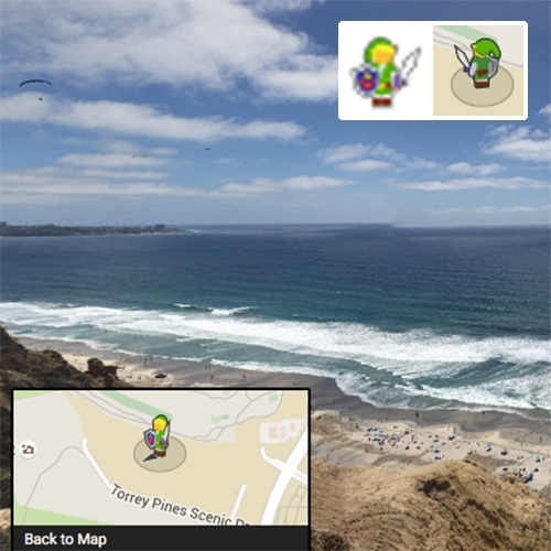 Legend of Zelda Day on Google Maps! Adorable little streetview guy is now Link!