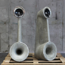 Concrete speakers by Linkski Design. Each one is made by hand when you order it and of course they do sound brilliant as well.