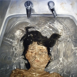 Linnea Strid, from Sweden, creates detailed and realistic oil on canvas/plywood paintings. Most notably, is her ability to paint splashes and pools of water with an extraordinary level of realism and believability.