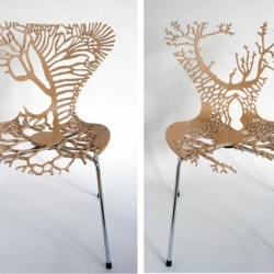 Inspired by da Vinci's anatomical drawings - each chair represents a human organ system [glandular, bronchial, circulatory, nervous and excretory]... by Lisa Jones