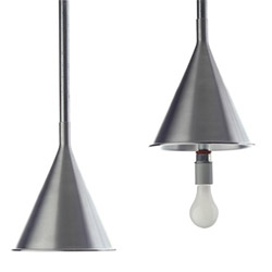 ​The Duit Light by Noah Lambert is a simple aluminum light shade suitable for use in retail or café environments utilizing exposed electrical conduit.