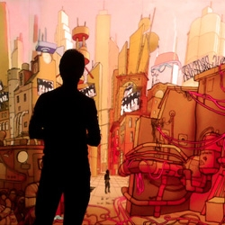 Extrapolis by Théoriz Crew and BKYC is a hand drawn mural brought to life by 3D animation, gesture-based technology, projection mapping, and sound design.