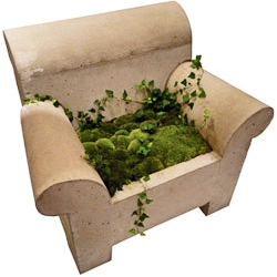 "Armchair with place for a minigarden from Swedish ""Betong & Smide""."