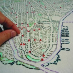 Amazing social mapping by Liz Kuenke - inviting community members to *embroider* their spaces and places.  Manhattan, Bushwick, LA, Bangalore, Barcelona....