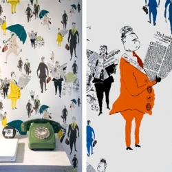 Lizzie Allen creates wonderful hand-screen-printed wallpapers. Her patterns are inspired by illustrations from the 50's (here is her 'london city gents' theme).