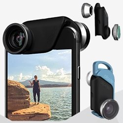 Ollo Clip's latest lenses for iPhone 6 - Fisheye, Wide Angle, Macro 15x, and Macro 10x. And the unit can snap into a wearable pendant.
