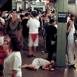 """In """"Locations"""" photographer Lilly McElroy lies on the ground in a nightgown in public places, and in """"I Throw Myself At Men"""" she, literally, throws herself at strange men in bars. Amazing."""