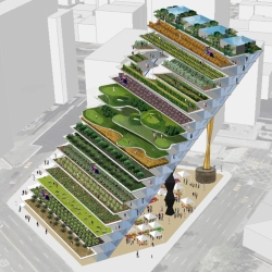 WORKac's version of vertical farming combines migrant farmers' housing in a series of stepped terraces with a farmer's market and public space below.