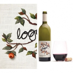 "Rarely seen embroidery label created by War Design for wine packaging. The Logan ""Signature"" Wine features beautiful, intricate compositions of fruits, berries, leaves and flowers..."