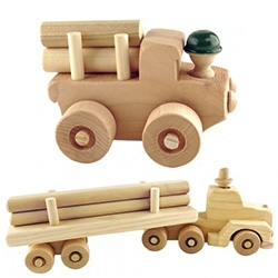 Oregon Wooden Toy Co. has adorable wooden logger truck toys