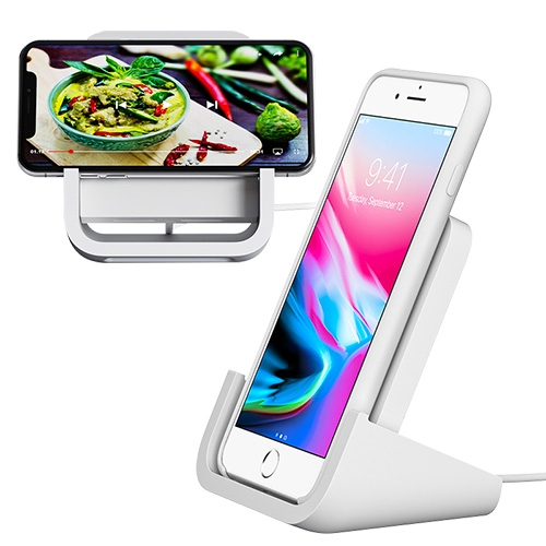 Logitech 'POWERED FOR iPHONE' Wireless Charger that lets you charge in both landscape and portrait mode.