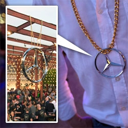 Mike D of the Beastie Boys made a handful of Mercedes-Benz Emblem necklaces ~ a few as tall as you ~ and a few life size necklaces for artists and Mercedes folks at the Avant/Garde Diaries opening last night.
