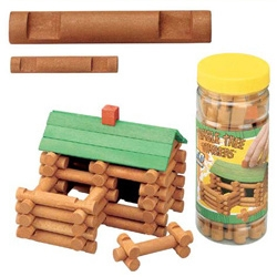 "Micro Tumble Tree Timbers ~ 50 piece kit of mini Lincoln Logs! Currently my favorite desk toy ever... and made of real wood!!! (found it for $4.99!) For reference, the canister has a 2"" diameter - and you can see comp between normal and mini sized logs."