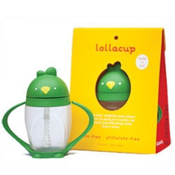 Lollacup is a stylish, smart alternative to the traditional sippy cup. It's valve-free, weighted straw allows infants as young as 9 months old to easily and effectively drink from a straw, even if the cup is tilted.