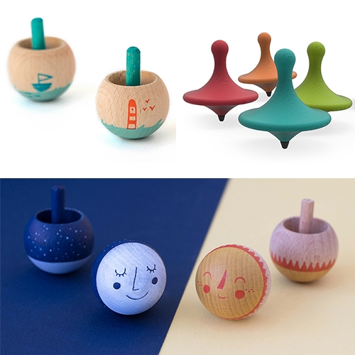 Londji Wooden Spinning Tops (including some that turn over) - Sun & Moon, Little Worlds, Produce, Fish, and more...