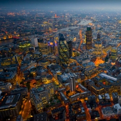 London from above, at night. Photographs by Jason Hawkes.