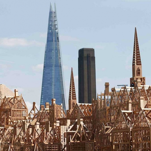 """To mark the anniversary of the Great Fire of 1666, American """"burn"""" artist David Best and Artichoke have teamed up to create London 1666, a 120-metre long sculpture of a 17th-century London skyline and you can watch it burn on Sept 4th."""