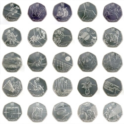 The London 2012 Olympics will be commemorated with a new series of 50 pence coins. The winning 29 designs were selected from the Royal Mint Competition.
