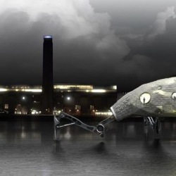 A walking architecture gallery for the Thames River, designed by [Pancho Garrido + Julia Ocampo + Estanislao Niklison] Architects for the 2008's Arquitectum + Architectural Association contest.