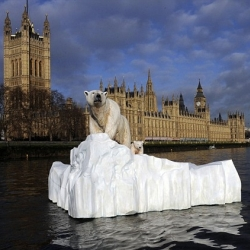 This giant sculpture of a polar bear stranded on a block of ice floated 7.5 miles from Greenwich towards London to highlight the melting ice caps. The bear is promoting the launch of a new television channel dedicated to natural history.