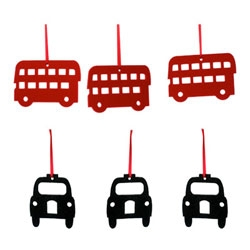 Adorable black cabbies and doubledeckers for your Christmas tree. Love these London ornaments from Michelle Mason.