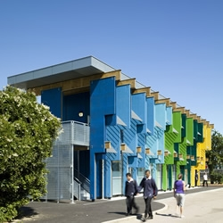 A colourful 2-storey extension to London's Longford Community School in Feltham is given an all too uncommon approach to school design – life, vibrancy and energy....by Jonathan Clark.