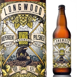 Longwood Brewery's new Independent Pilsner label is a modern reinterpretation of the original Colony of Vancouver Island flag and features a hops-loving beaver.