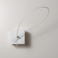this is actually a clock, where the back ends of the minute and hour hands are connected.  as it rotates, the shape transforms fluidly.