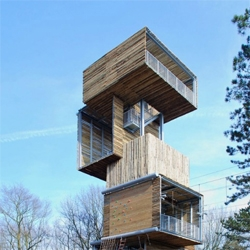 Dutch architects ateliereenarchitecten designed a bird watching tower composed of a series of stacked boxes defying gravity.