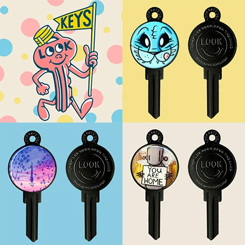 Look Keys! Fun custom art keys featuring artists like Joe Ledbetter, Yoskay Yamamoto, Amanda Visell, Chris Ryniak, Robots Will Kill, Sket One, and many other NOTCOT favorites!