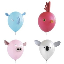 Air Head animal balloons ~ Each animal consists of a balloon on a wand, plus pre-cut colour features which are attached with sticky pads. Also included are colour stickers for eyes and features