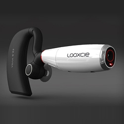 Looxcie is a  camera/earpiece with HVGA video resolution & 4+ hours record time.  Video everything you see and instantly email clips or post them to Facebook, YouTube, or Twitter.