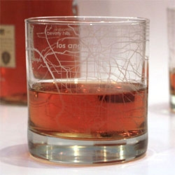 Street maps and glassware.  Scotch and cities.  Maps of your favorite cities etched entirely around the outside of these 10oz Rocks Glasses.