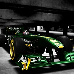 Fantastic photograph of the new team Lotus 2011 F1-car.