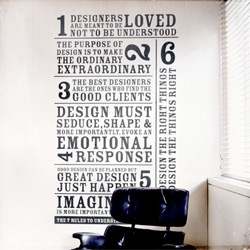 French designer Barral Fabien has an innovative way to educate his clients – a giant wall sticker. His intention is to help his client understand him as a designer.